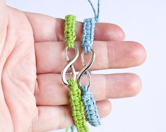 Infinity Friendship Bracelets Lime Green and Light Blue, Couples Bracelets, Friendship Bracelets, His Her Bracelets, Best Friend Bracelets