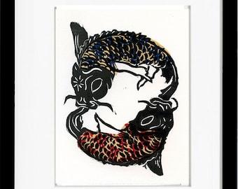 Pisces, Limited Editon Linoleum Block Print