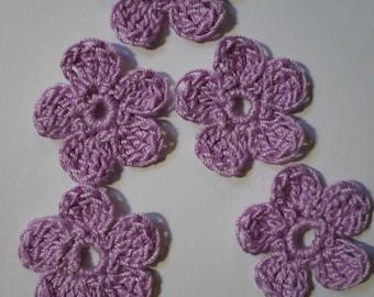 set of 5 flowers crochet violet color, 29 mm in diameter