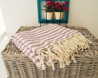 Lilac Stripe Turkish Towel,Lilac Cotton Towel,Lilac Towel,Lilac Striped Peshtemal,Lilac Stireped Beach Towel,Bath Towel,thick cotton towel,