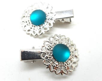 2 hair clips has silvery hair matte turquoise cabochon charms and co.