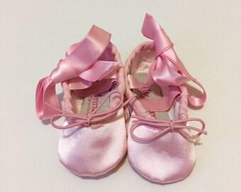 Pink Ballet Shoes, Satin Ballet Slippers, Pink Ballerina Slippers, Toddler Ballet Shoe with Ribbons, Ballet Shoes for Girls, Pink Baby Shoes