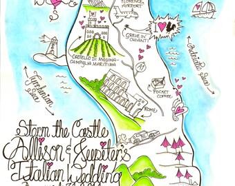 Wedding Invitation Map- custom made to order-  printable