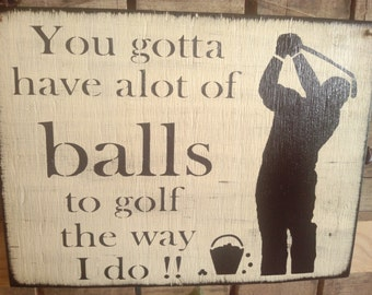 Primitive wooden Golf Sign