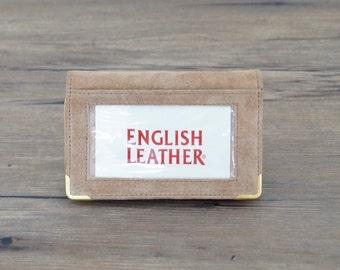 vintage card wallet tan suede wallet un-used