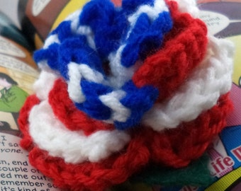 Crocheted Rose Barrette - Red, White, and Blue (SWG-HB-HEAM02)