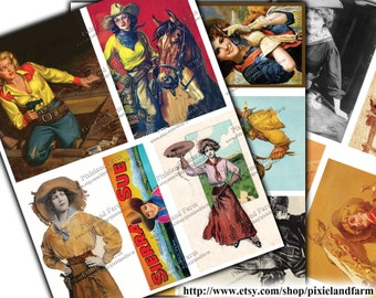 Cowgirl Vintage Clip Art Printable Digital Download