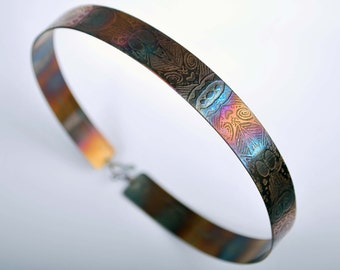 Steel Collar with heat coloured patina, etched metal collar, handmade collar