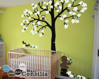 """Baby Nursery Tree Wall Decal Tree Decals Tree Wall Decal with Teddy - Large: approx 93"""" x 85"""" - KC031"""