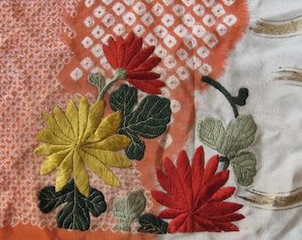 Kimono, antique silk embroidered Japanese kimono piece, flowers