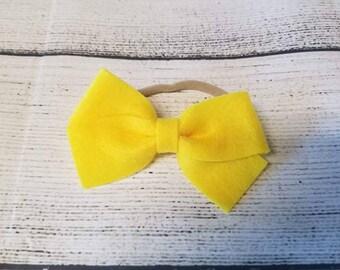 3 inch yellow felt bow headband