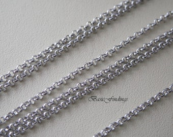 2 Meters, 1.6 mm Rolo Chain, Original Rhodium Plated Brass Chain, Basic Fashion Jewelry Chain, 1.6 mm BL, Quality Brass Chain