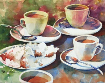 Beignets and Cafe au Lait, Cafe du Monde, New Orleans French Quarter watercolor print