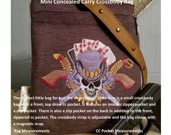 Concealed Carry Purse Sewing Pattern, Concealed Carry Crossbody, CC Cross Body Bag, Concealed Carry Purse PDF