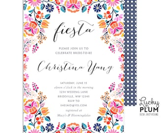 Colorful Fiesta Bridal Shower Invitation / Mexican Floral Bridal Shower Invitation / Folk Art Bridal Shower Invite / Printable FT02