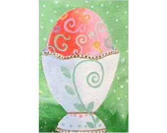 Original Painting * ACEO Mini Painting * Decorated Egg Cup Art By Rodriguez * Small Art Format
