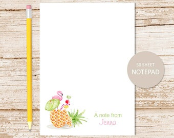 personalized notepad . pineapple notepad . watercolor pineapple drink, flamingo, tropical summer . personalized stationary . stationery gift
