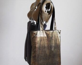 Gold Snake Skin Tote Bag - Tote Bag - Connivence Bag - books Bag - Magazines Bag - Laptop Bag - Everyday Bag - Shoulder Tote Bag