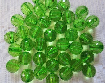 26  Christmas Apple Green Faceted Round Disco Ball Acrylic Beads  8mm
