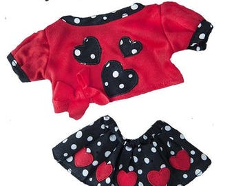 """Valentine Heart Outfit Girl~ fits 16"""" plush animals"""
