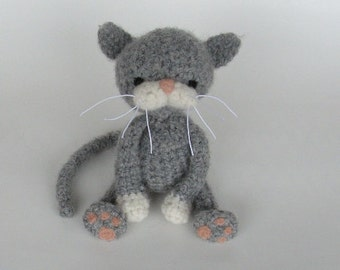 PATTERN -PDF- Gray Cat With White Paws Crochet and Felt Pattern