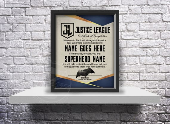 CUSTOM Justice League acceptance certificate - Choose Inserts, and Size