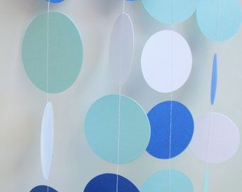 Paper Garland, Baby Boy, Baby Shower Decoration, Ocean Theme Shower, Blue and White Baby Shower, First Birthday Decorations
