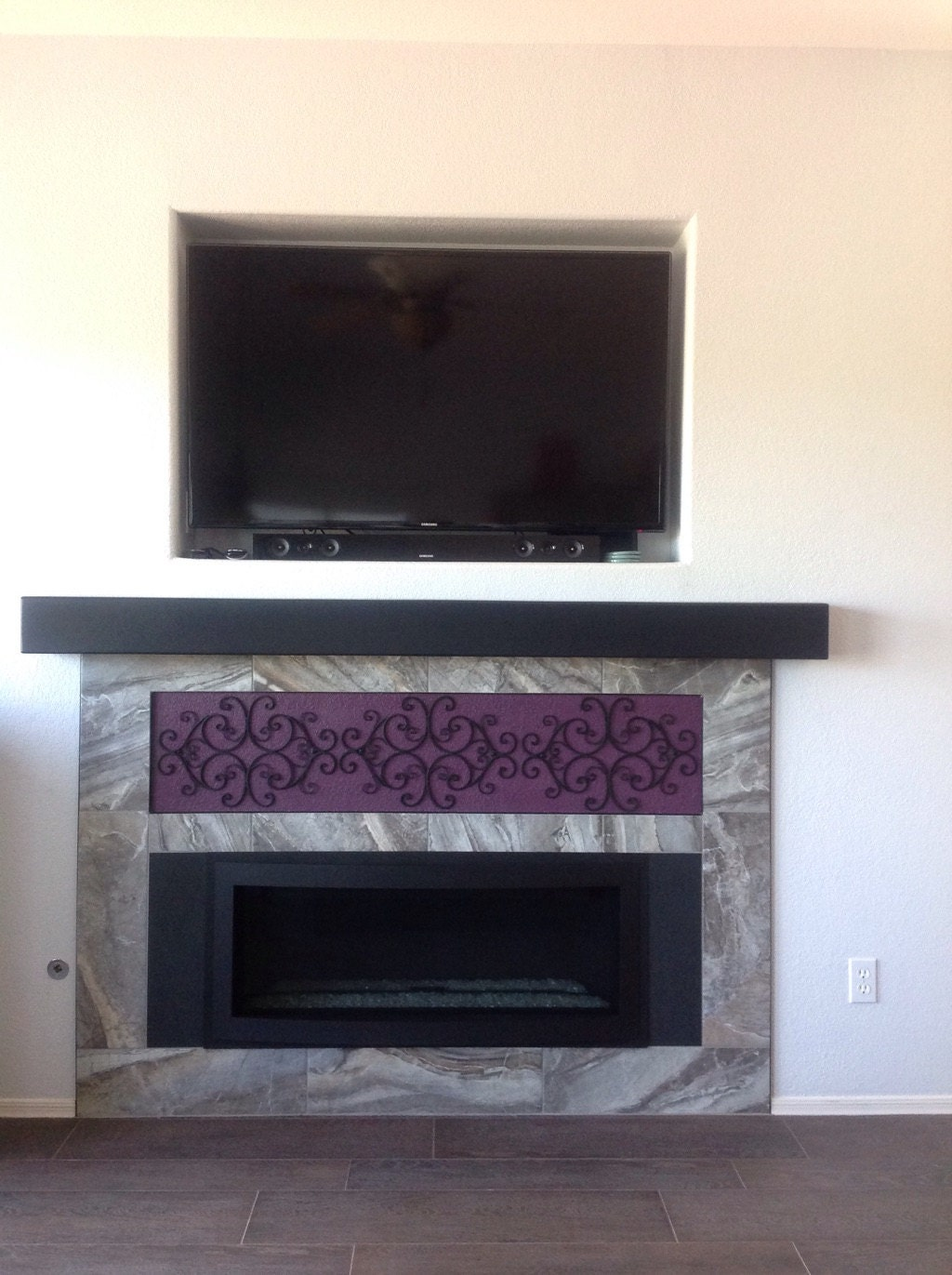 Fireplace Mantel Modern Wall Shelf  Custom hollow floating shelf . Look of a solid beam. Made out of plywood