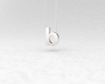 Letter B Pendant Necklace Helvetica Initial Monogram Silver