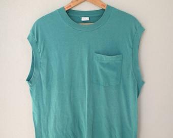 vintage kelly green distressed pocket muscle t shirt tank halter top *