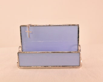 Stained Glass Business Card Holder - Business Card Holder - Office Decor - Blue Business Card Holder - Desk Accessory - Religious Decor