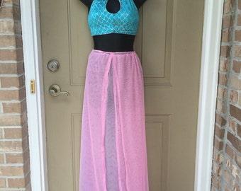 MADE TO ORDER: Sheer high waist skirt; maxi skirt with slits; M skirt; flowy festival skirt; unicorn; open front chiffon skirt; cotton candy