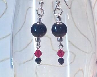 EARRINGS Sterling Silver Vintage Red Black Pearls Gift