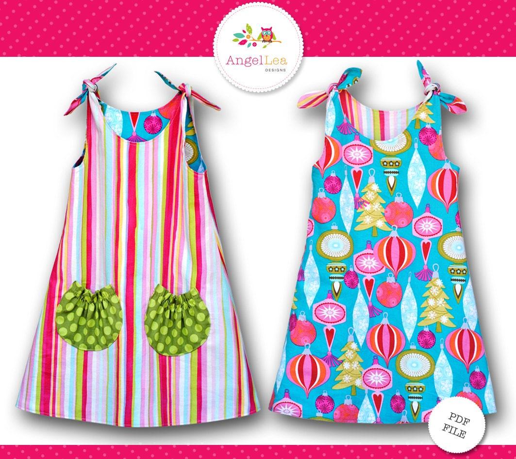 Tie top dress pattern girls dress pattern pdf sewing pattern zoom jeuxipadfo Choice Image