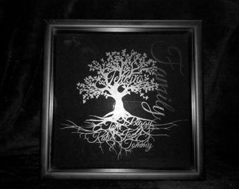 Custom Black Glass Etched Family Name Tree Shadow Box