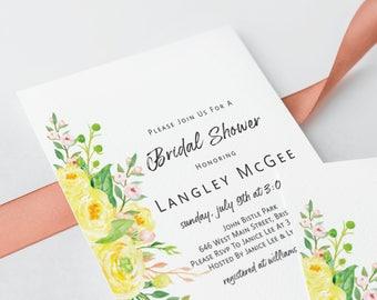Bridal Shower Invitation Yellow Flower Printed or Digital Print Yourself Invite