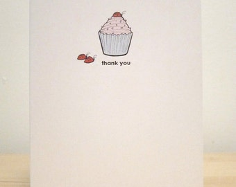 Cupcake and the Lady Bug Thank You Card - Carrier Budge Greeting Cards