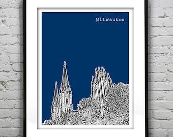 Milwaukee Wisconsin Skyline Poster Print WI