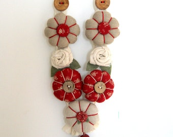 PDF PATTERN fabric Necklaces, for the girl,diy craft , diy roses and pincushion flower,buttons and ribbons ,fabric necklace,braided