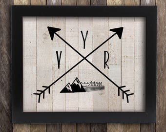 Vancouver Skyline YVR Tribal Print - British Columbia Island Victoria BC  - Canadian Province Poster - Home Decor - Arrows Rustic Map PNW