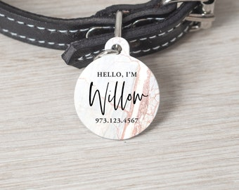Personalized Pet Tag, Round Pet Tag, Custom Cat Tag, Dog Tag, Custom Pet Tag, Pet Name Tag, Custom Dog Tag, Bronze Marble Print, Tag 015