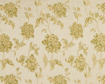 Gold and Light Green Large Scale Flowers and Leaves Damask Brocade Upholstery Fabric By The Yard | Pattern # B0720D