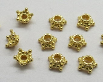 10 Pieces 925 Sterling Silver Star Bead Cap 6mm Gold Plated Over Silver
