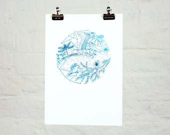 Look up (2-colour screenprint)