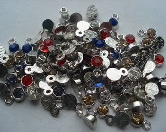 20 Silver Tone Mixed Rhinestone Charms, 8mm Mixed Rhinestone Charms, Pack of 20 Mixed Charms, 10p Each!! C460