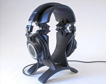 Noir élégant, robuste et joliment incurvée personnalisé multicolore 3D imprimé casque Stand