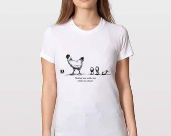 KillerBeeMoto: Mother Hen Walks Her Chicks To School Short or Long Sleeve T-Shirt