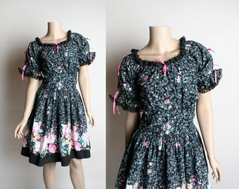 Vintage 1970s Square Dance Dress - Border Print Floral Bouquet - Hot Pink and Black - Split Puff Sleeve - Country Girl Dress - Large
