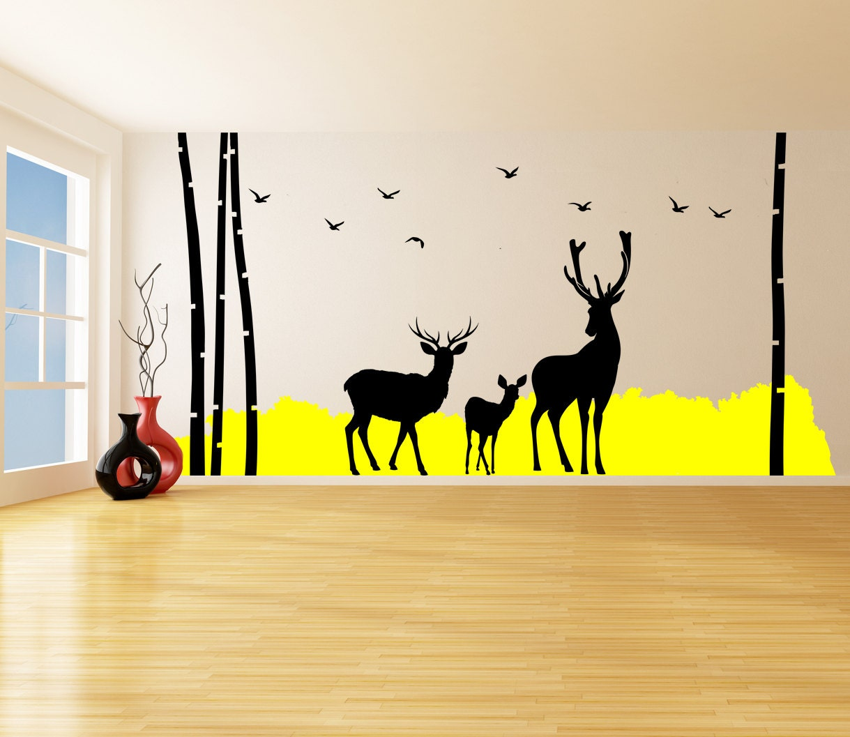 Vinyl Wall Decal Tree Bushes Birds & Deer Silhouette Color