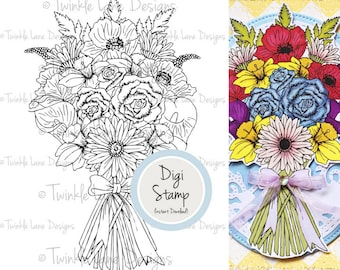 Bouquet, Digi Stamp, Flowers, Florals, Digital Stamp, Colouring Page, Valentines Day, Mothers Day, Anniversary, Printable, Black and White